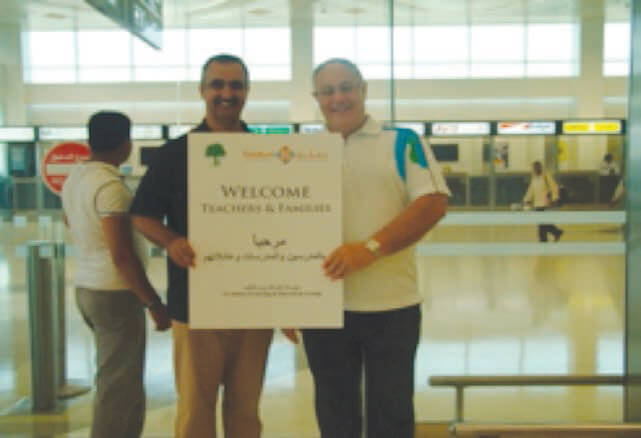 International teachers plus welcome teachers in airport